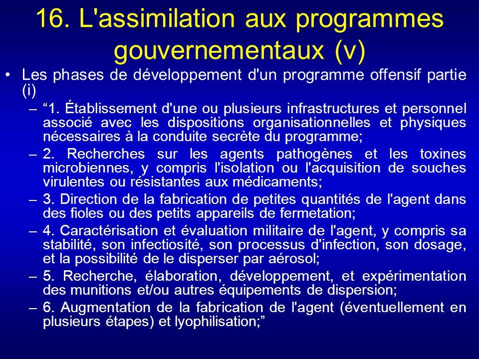 16. L'assimilation aux programmes gouvernementaux (v) Les phases de développement d'un programme offensif partie (i) –1. Établissement d'une ou plusie