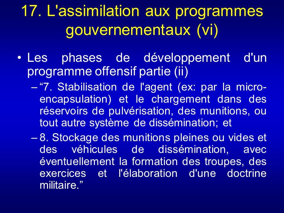 17. L'assimilation aux programmes gouvernementaux (vi) Les phases de développement d'un programme offensif partie (ii) –7. Stabilisation de l'agent (e