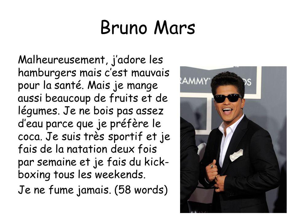 Bruno Mars Malheureusement, jadore les hamburgers mais cest mauvais pour la santé.