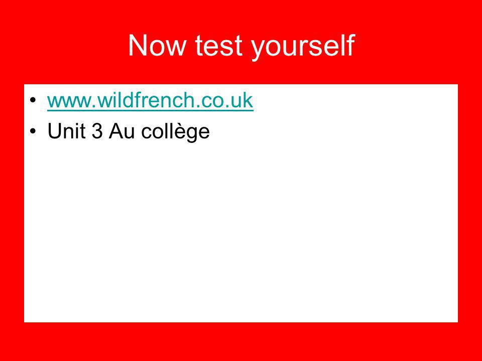 Now test yourself www.wildfrench.co.uk Unit 3 Au collège