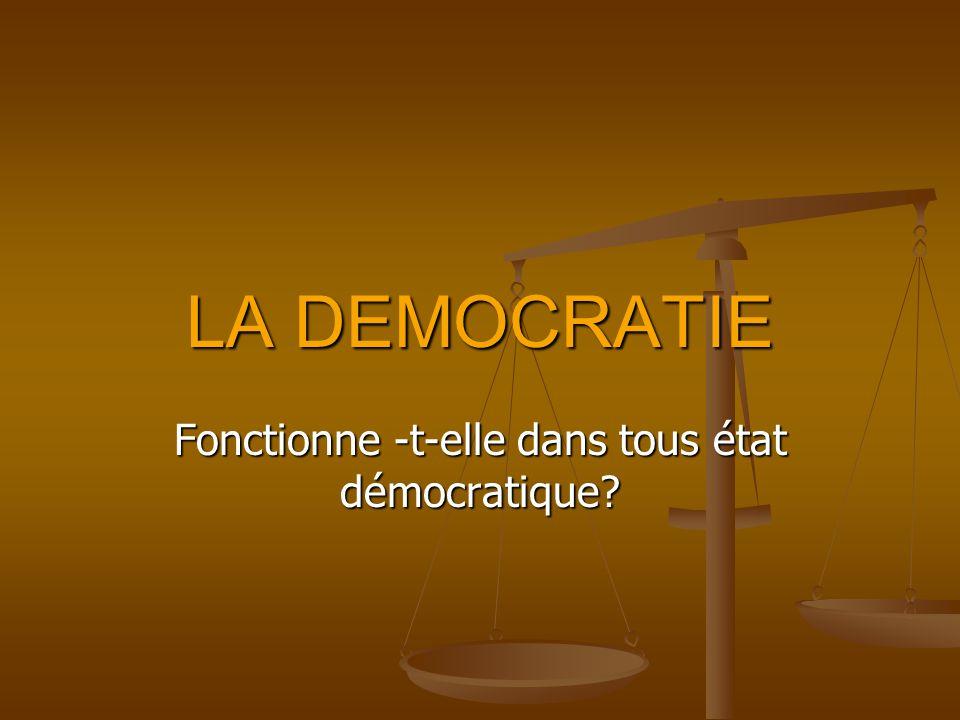 LA DEMOCRATIE Fonctionne -t-elle dans tous état démocratique?
