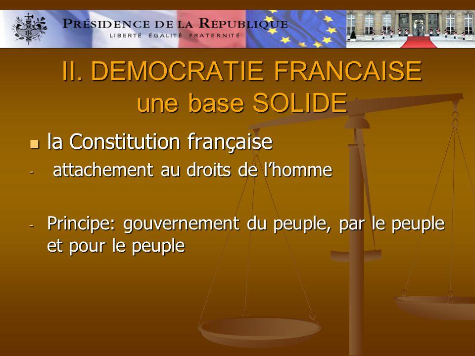 II. DEMOCRATIE FRANCAISE une base SOLIDE la Constitution française la Constitution française - attachement au droits de lhomme - Principe: gouvernemen