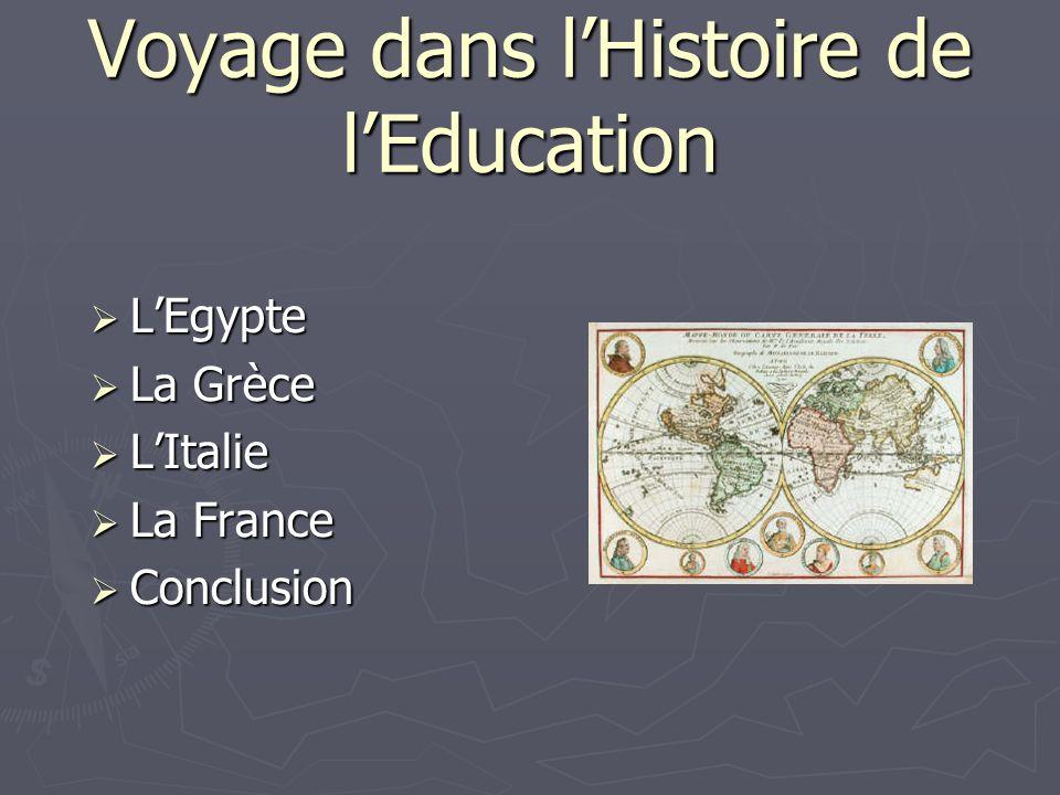 Voyage dans lHistoire de lEducation LEgypte LEgypte La Grèce La Grèce LItalie LItalie La France La France Conclusion Conclusion