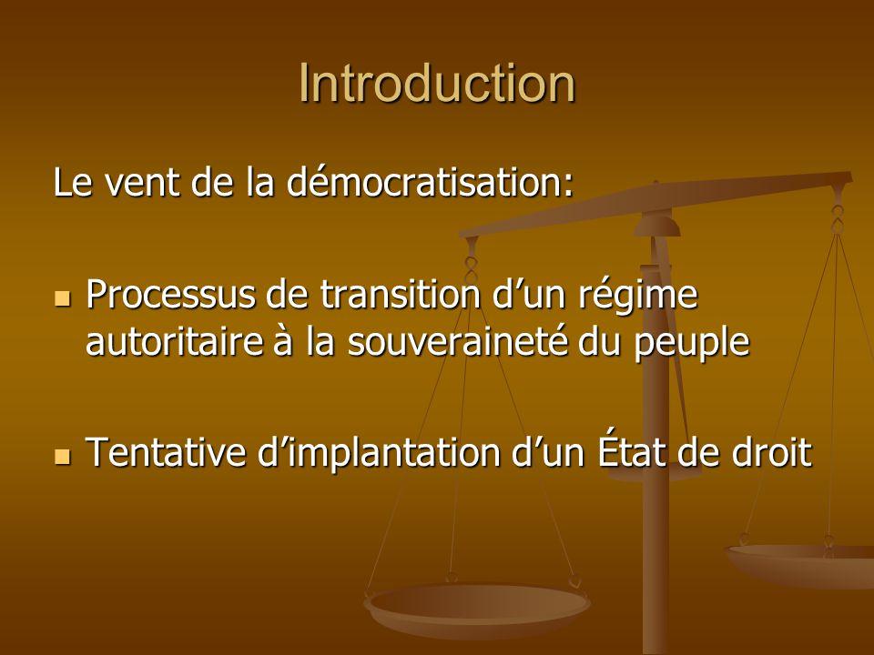 Introduction Le vent de la démocratisation: Processus de transition dun régime autoritaire à la souveraineté du peuple Processus de transition dun rég
