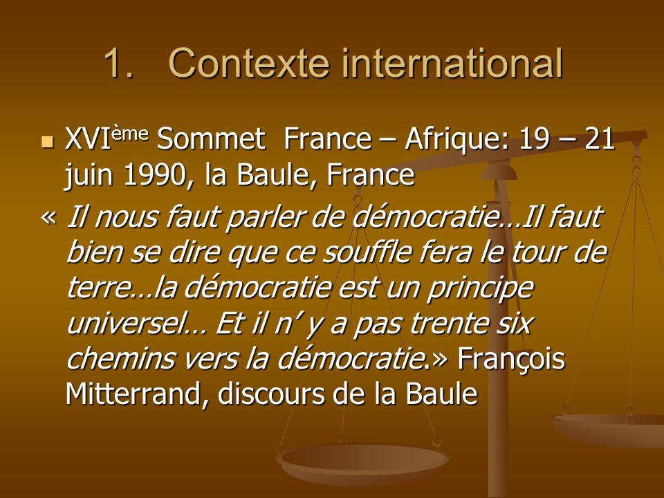 1.Contexte international XVI ème Sommet France – Afrique: 19 – 21 juin 1990, la Baule, France XVI ème Sommet France – Afrique: 19 – 21 juin 1990, la B