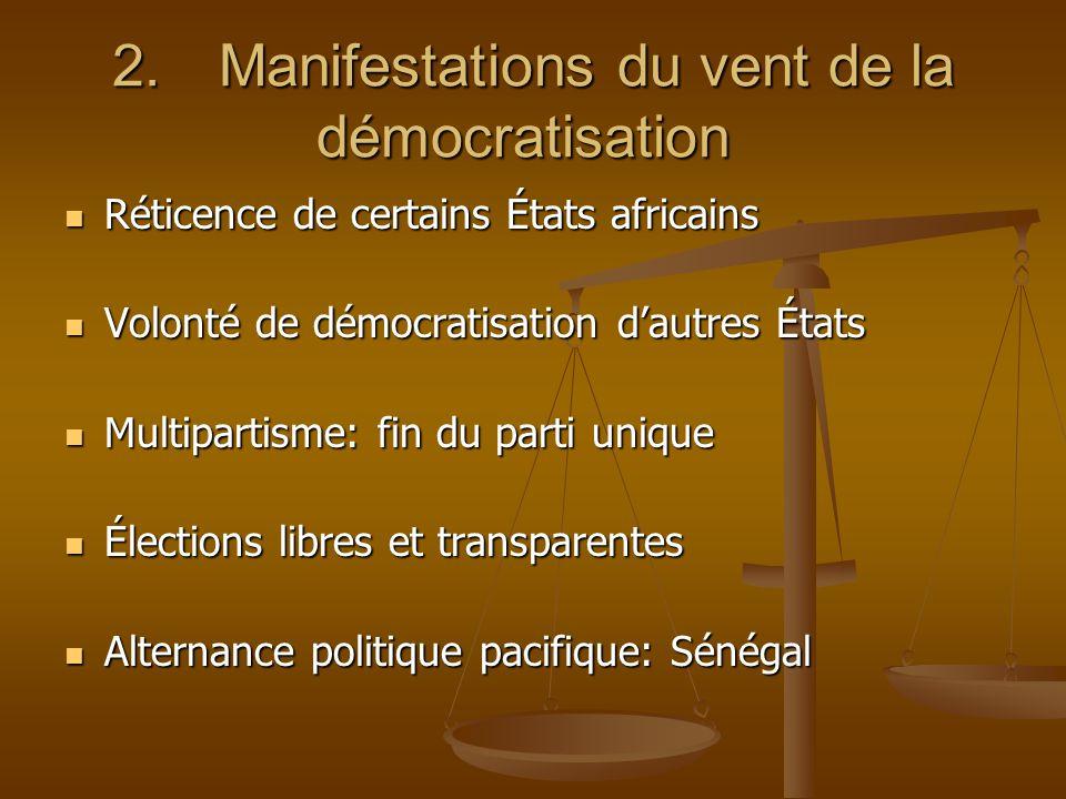 2.Manifestations du vent de la démocratisation 2.Manifestations du vent de la démocratisation Réticence de certains États africains Réticence de certa