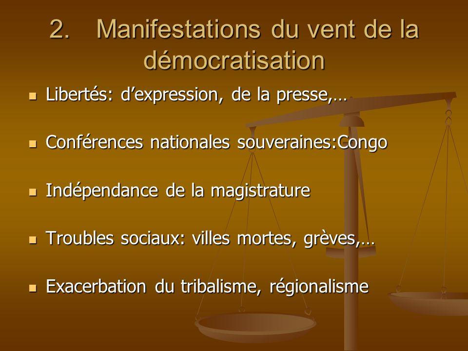 2.Manifestations du vent de la démocratisation Libertés: dexpression, de la presse,… Libertés: dexpression, de la presse,… Conférences nationales souv