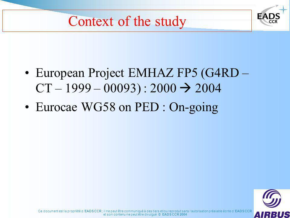 Ce document est la propriété d EADS CCR ; il ne peut être communiqué à des tiers et/ou reproduit sans lautorisation préalable écrite d EADS CCR et son contenu ne peut être divulgué © EADS CCR 2004 Context of the study European Project EMHAZ FP5 (G4RD – CT – 1999 – 00093) : 2000 2004 Eurocae WG58 on PED : On-going