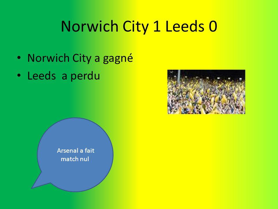 Norwich City 1 Leeds 0 Norwich City a gagné Leeds a perdu Arsenal a fait match nul