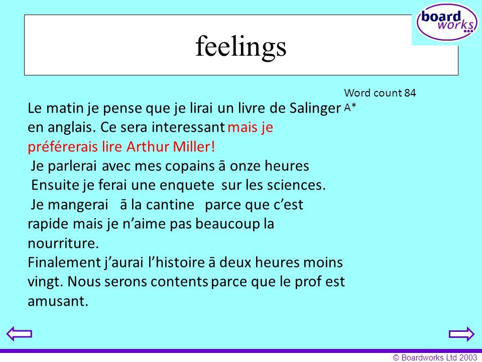 © Boardworks Ltd 2003 feelings Le matin je pense que je lirai un livre de Salinger en anglais. Ce sera interessant mais je préférerais lire Arthur Mil