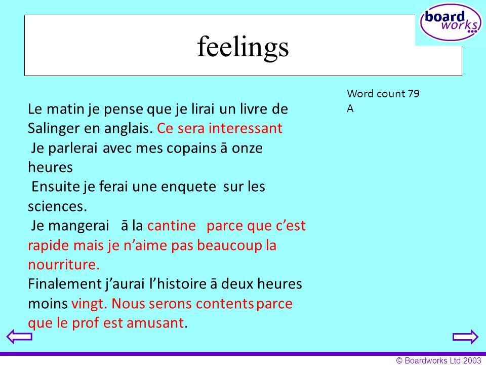 © Boardworks Ltd 2003 feelings Le matin je pense que je lirai un livre de Salinger en anglais. Ce sera interessant Je parlerai avec mes copains ā onze