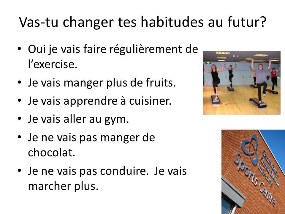 Vas-tu changer tes habitudes au futur? Can you give a sentence about 3?