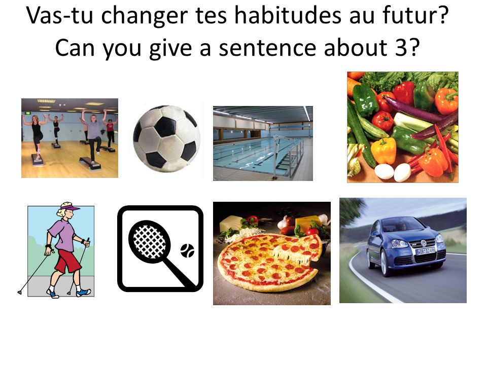 Vas-tu changer tes habitudes au futur? Can you give a sentence about 3?