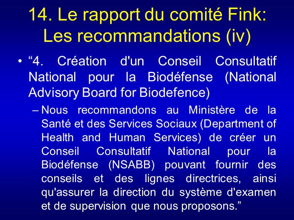 14. Le rapport du comité Fink: Les recommandations (iv) 4. Création d'un Conseil Consultatif National pour la Biodéfense (National Advisory Board for