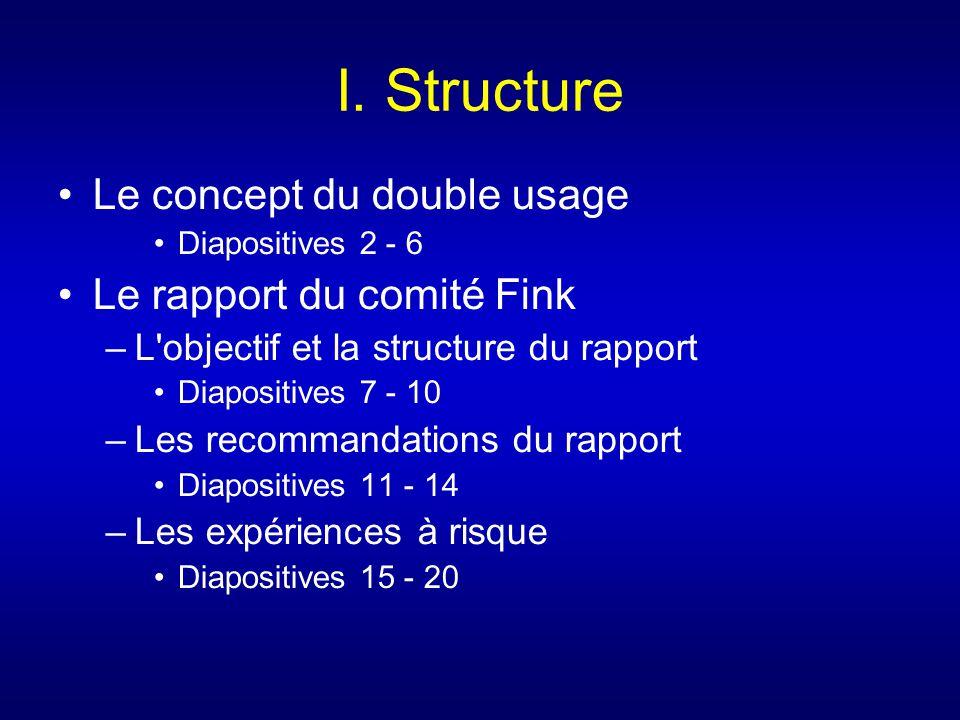 I. Structure Le concept du double usage Diapositives 2 - 6 Le rapport du comité Fink –L'objectif et la structure du rapport Diapositives 7 - 10 –Les r
