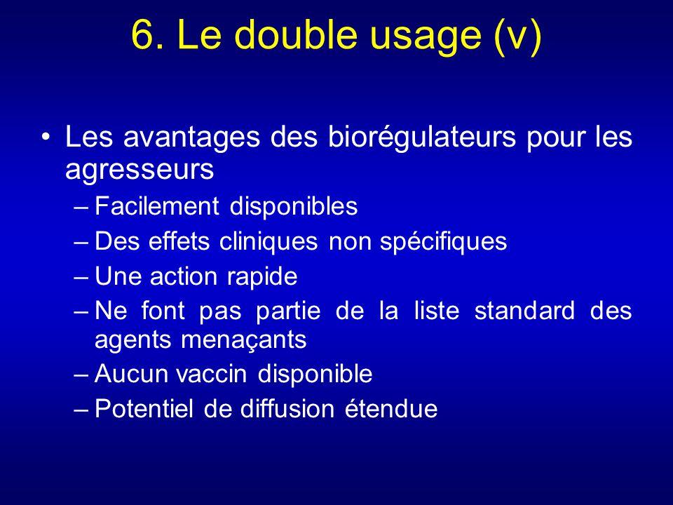 6. Le double usage (v) Les avantages des biorégulateurs pour les agresseurs –Facilement disponibles –Des effets cliniques non spécifiques –Une action