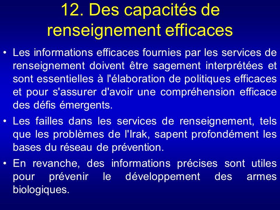 12. Des capacités de renseignement efficaces Les informations efficaces fournies par les services de renseignement doivent être sagement interprétées