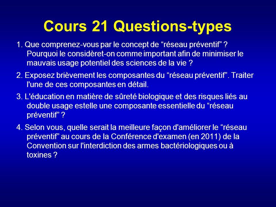 Cours 21 Questions-types 1. Que comprenez-vous par le concept de réseau préventif ? Pourquoi le considèret-on comme important afin de minimiser le mau
