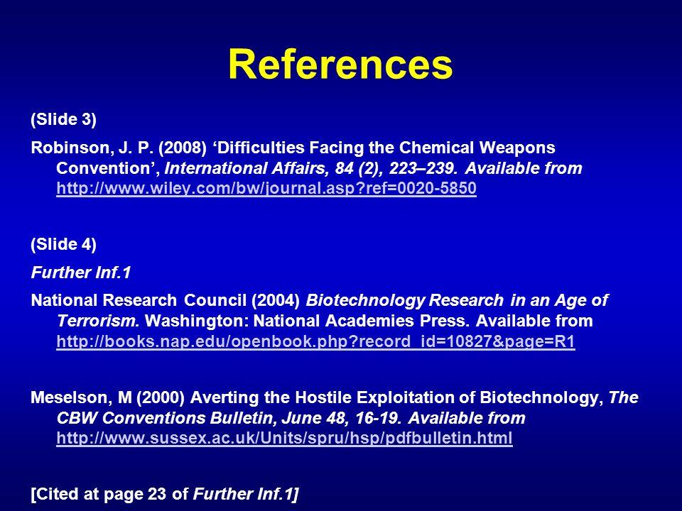 References (Slide 3) Robinson, J.P.