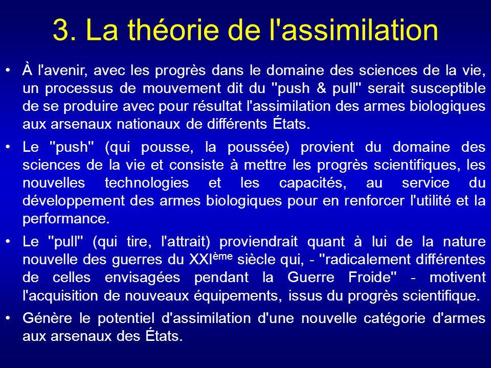 3. La théorie de l'assimilation À l'avenir, avec les progrès dans le domaine des sciences de la vie, un processus de mouvement dit du ''push & pull''