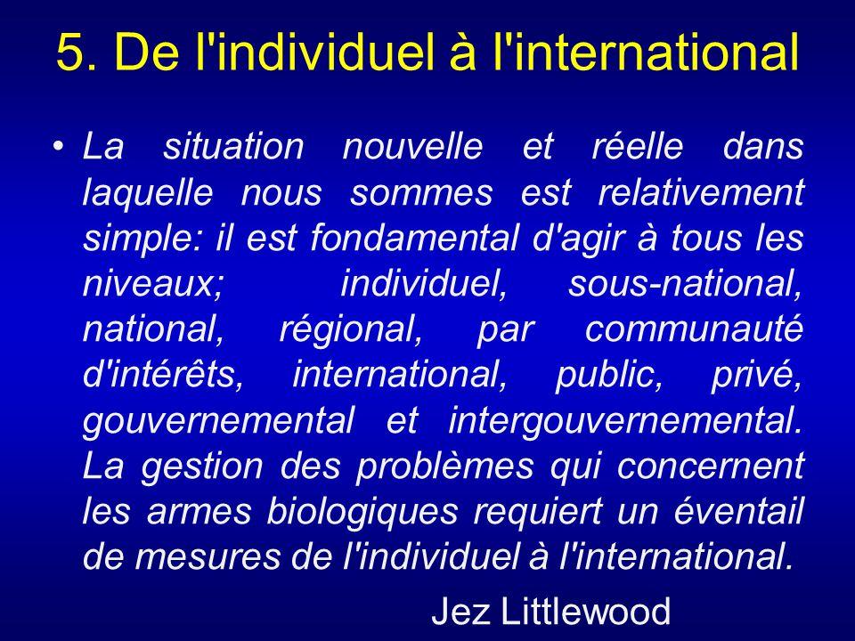 5. De l'individuel à l'international La situation nouvelle et réelle dans laquelle nous sommes est relativement simple: il est fondamental d'agir à to