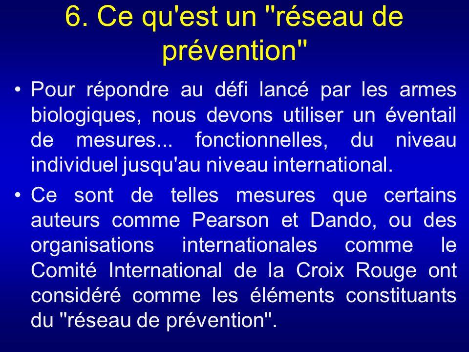 6. Ce qu'est un ''réseau de prévention'' Pour répondre au défi lancé par les armes biologiques, nous devons utiliser un éventail de mesures... fonctio