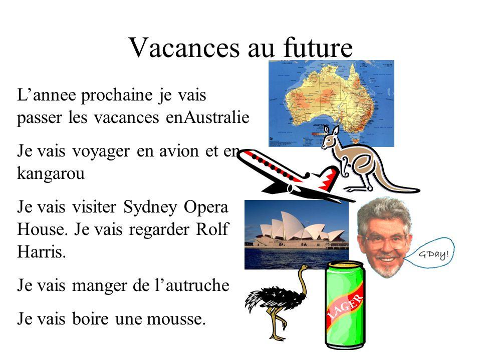 Vacances au future Lannee prochaine je vais passer les vacances enAustralie Je vais voyager en avion et en kangarou Je vais visiter Sydney Opera House.