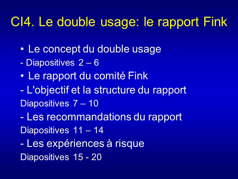 CI4. Le double usage: le rapport Fink Le concept du double usage - Diapositives 2 – 6 Le rapport du comité Fink - L'objectif et la structure du rappor