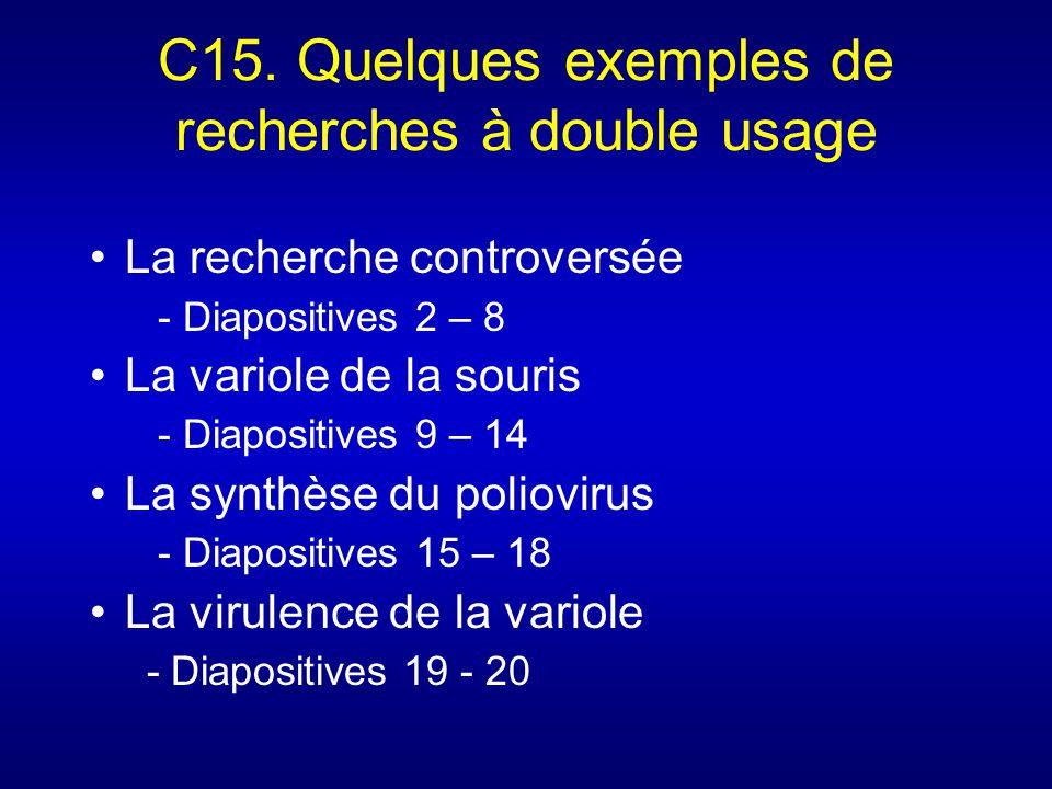 C15. Quelques exemples de recherches à double usage La recherche controversée - Diapositives 2 – 8 La variole de la souris - Diapositives 9 – 14 La sy