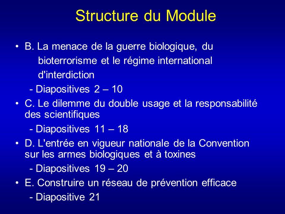 Structure du Module B. La menace de la guerre biologique, du bioterrorisme et le régime international d'interdiction - Diapositives 2 – 10 C. Le dilem
