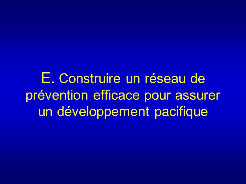 E. Construire un réseau de prévention efficace pour assurer un développement pacifique