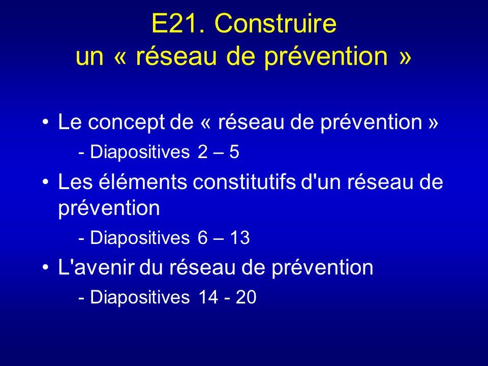 E21. Construire un « réseau de prévention » Le concept de « réseau de prévention » - Diapositives 2 – 5 Les éléments constitutifs d'un réseau de préve