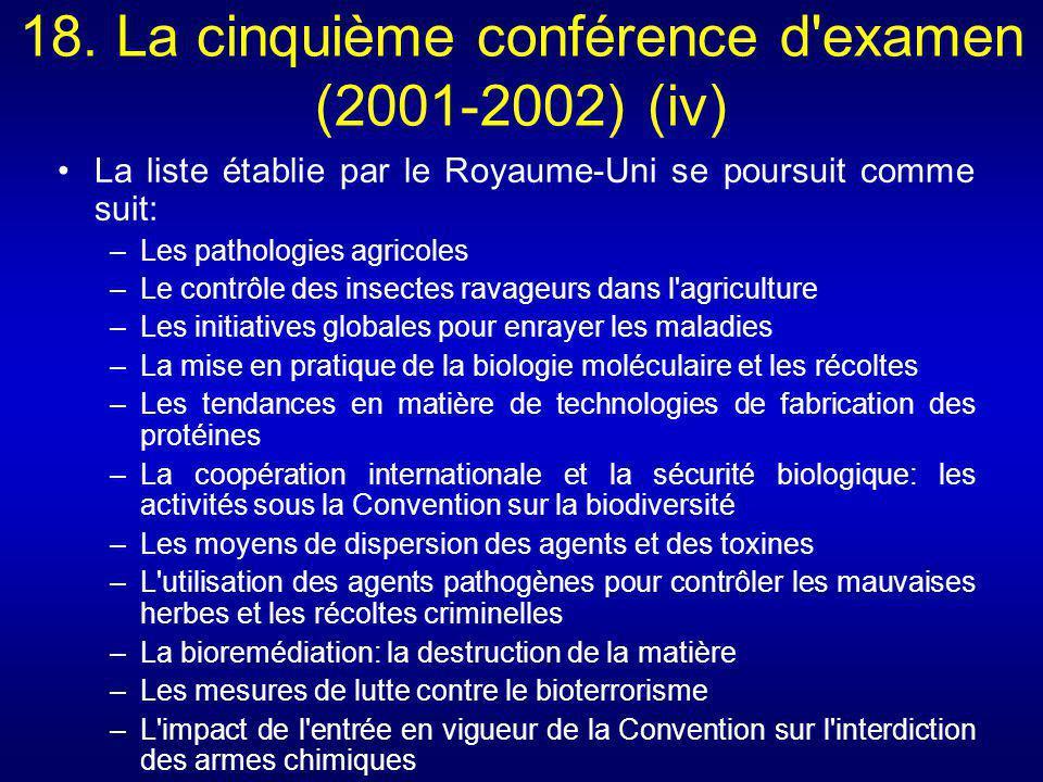 18. La cinquième conférence d'examen (2001-2002) (iv) La liste établie par le Royaume-Uni se poursuit comme suit: –Les pathologies agricoles –Le contr