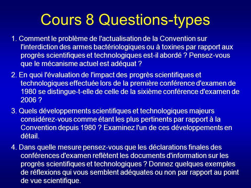 Cours 8 Questions-types 1. Comment le problème de l'actualisation de la Convention sur l'interdiction des armes bactériologiques ou à toxines par rapp