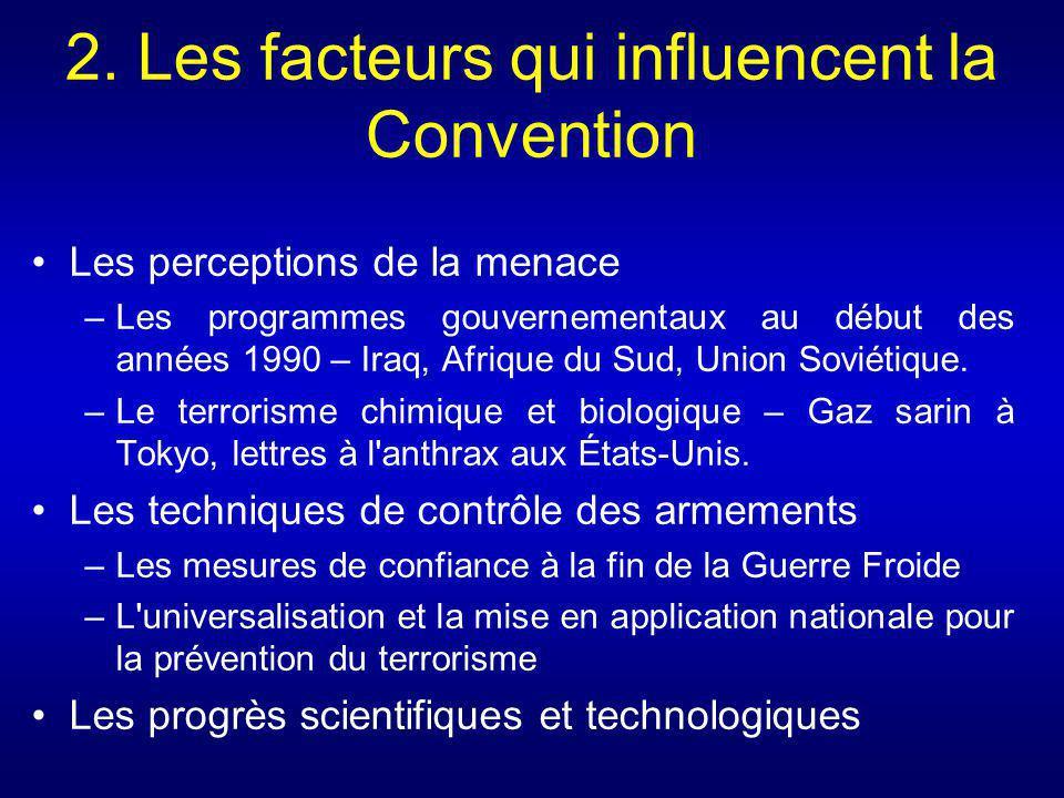 2. Les facteurs qui influencent la Convention Les perceptions de la menace –Les programmes gouvernementaux au début des années 1990 – Iraq, Afrique du