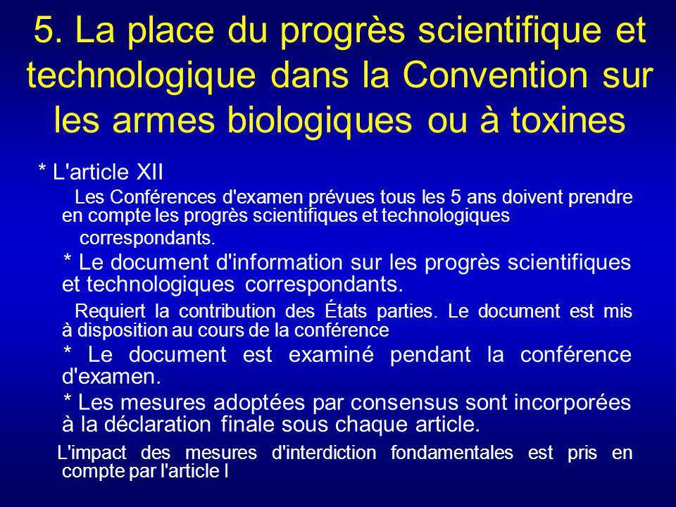 5. La place du progrès scientifique et technologique dans la Convention sur les armes biologiques ou à toxines * L'article XII Les Conférences d'exame