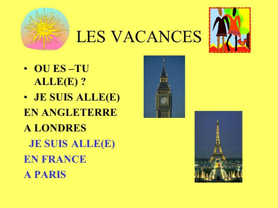 LES VACANCES OU ES –TU ALLE(E) ? JE SUIS ALLE(E) EN ANGLETERRE A LONDRES JE SUIS ALLE(E) EN FRANCE A PARIS