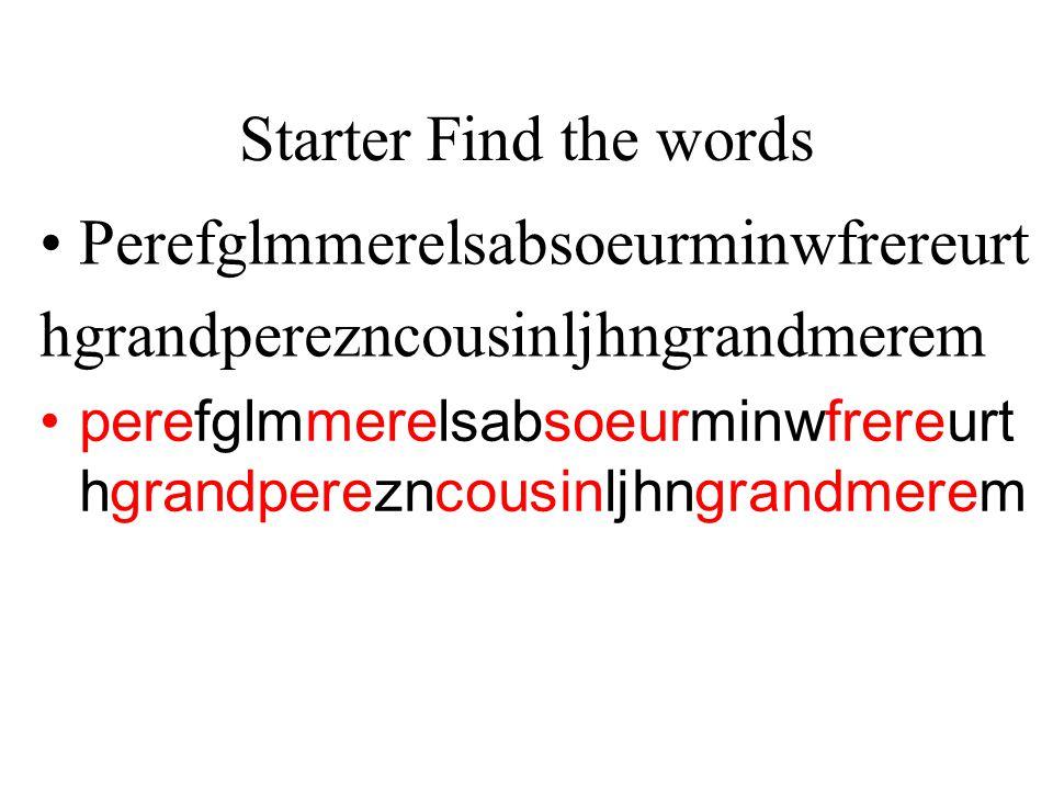 Starter Find the words Perefglmmerelsabsoeurminwfrereurt hgrandperezncousinljhngrandmerem perefglmmerelsabsoeurminwfrereurt hgrandperezncousinljhngran