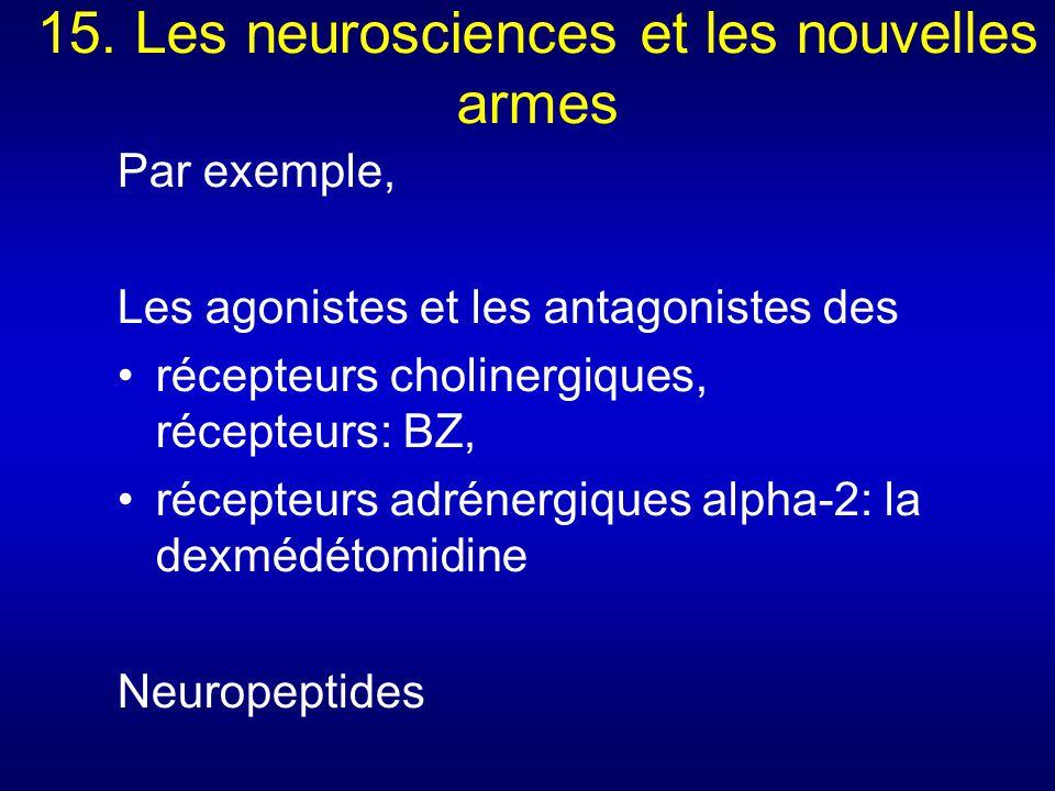 15. Les neurosciences et les nouvelles armes Par exemple, Les agonistes et les antagonistes des récepteurs cholinergiques, récepteurs: BZ, récepteurs