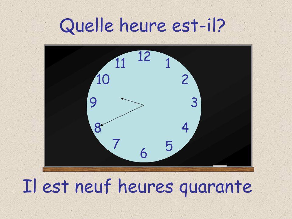 Quelle heure est-il? 12 6 93 8 7 1 2 5 4 10 11 Il est neuf heures trente cinq