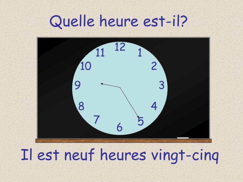 Quelle heure est-il? 12 6 93 8 7 1 2 5 4 10 11 Il est neuf heures vingt-cinq