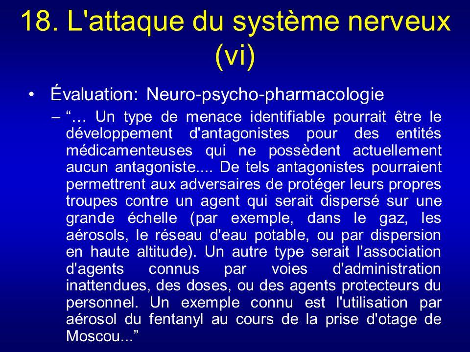 18. L'attaque du système nerveux (vi) Évaluation: Neuro-psycho-pharmacologie –… Un type de menace identifiable pourrait être le développement d'antago