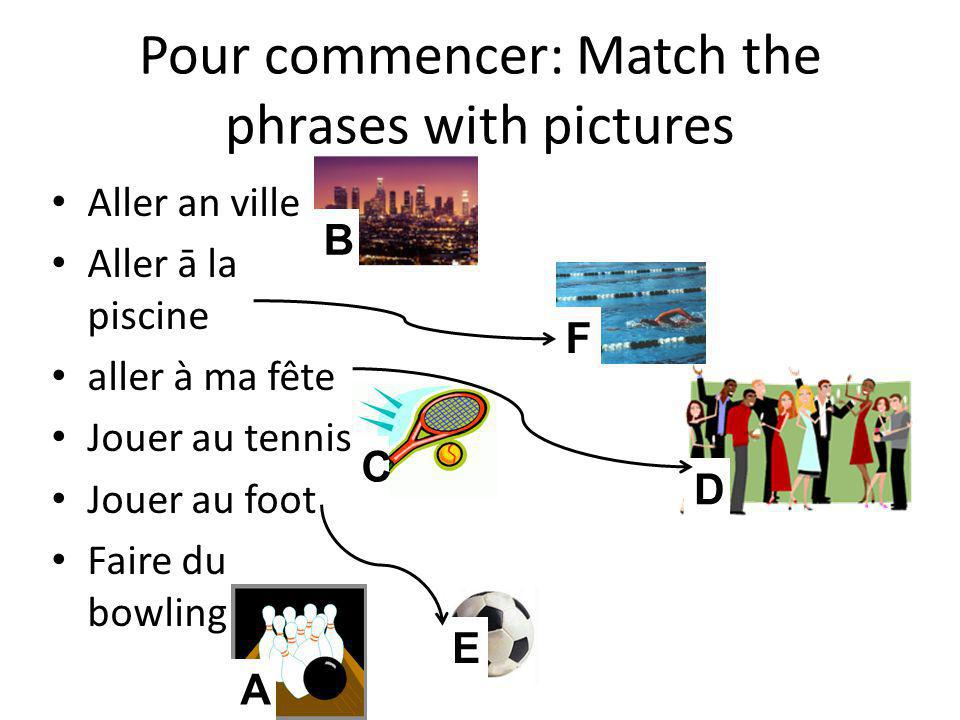 Pour commencer: Match the phrases with pictures C E A F B D Aller an ville Aller ā la piscine aller à ma fête Jouer au tennis Jouer au foot Faire du b