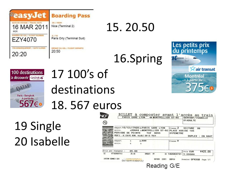 Spring s of destinations euros 19 Single 20 Isabelle Reading G/E