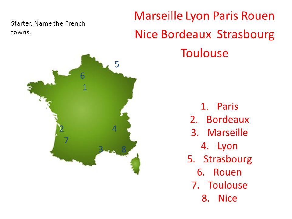 1.Paris 2.Bordeaux 3.Marseille 4.Lyon 5.Strasbourg 6.Rouen 7.Toulouse 8.Nice 1 2 3 4 5 6 7 8 Starter.