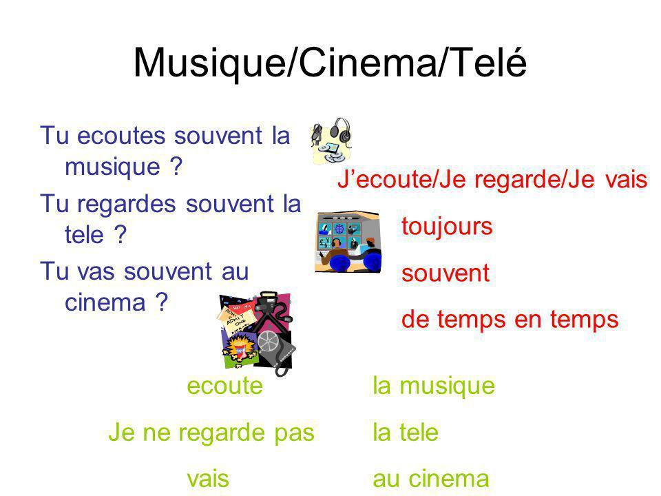 Musique/Cinema/Telé Tu ecoutes souvent la musique ? Tu regardes souvent la tele ? Tu vas souvent au cinema ? Jecoute/Je regarde/Je vais toujours souve