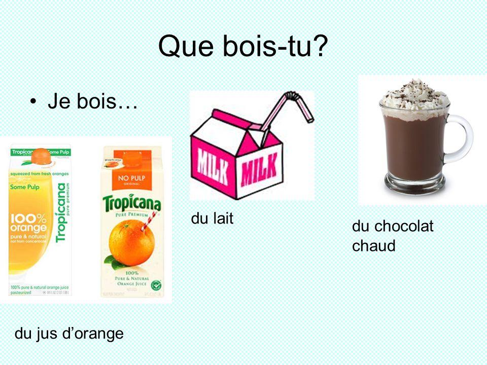 Que bois-tu? Je bois… du jus dorange du lait du chocolat chaud