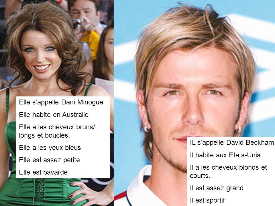 Elle sappelle Dani Minogue Elle habite en Australie Elle a les cheveux bruns/ longs et bouclés.