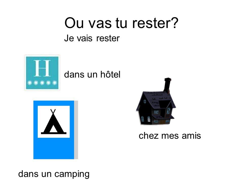 Je vais rester dans un hôtel chez mes amis dans un camping Ou vas tu rester?