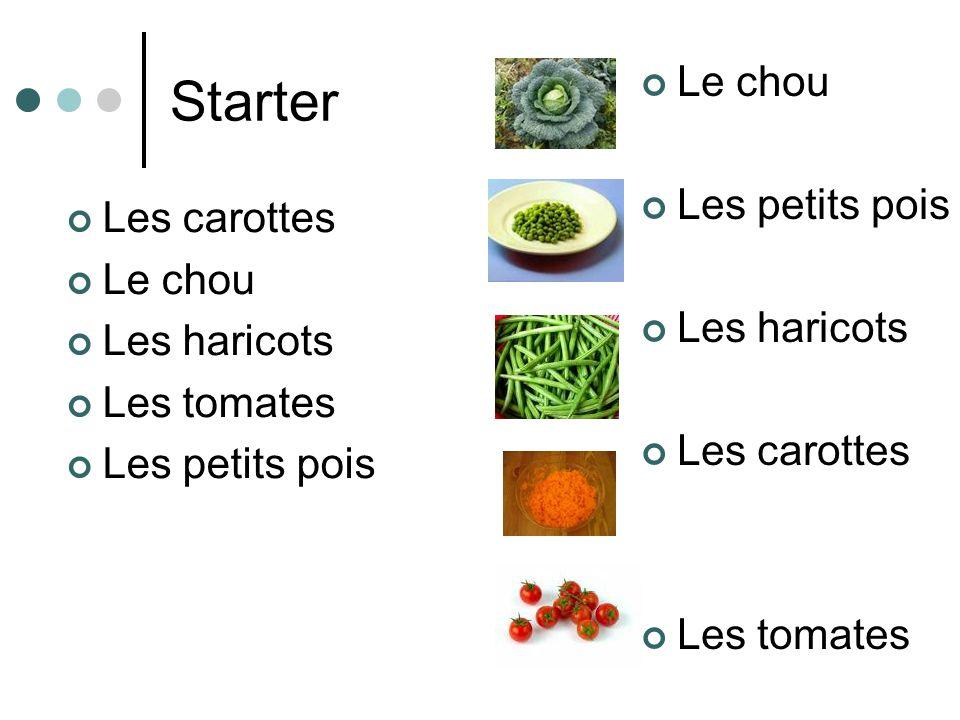 Starter Les carottes Le chou Les haricots Les tomates Les petits pois Le chou Les petits pois Les haricots Les carottes Les tomates
